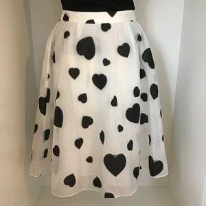 J. Crew hearts organza midi skirt, size 10